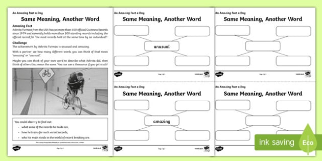Same Meaning, Another Word Activity Sheet, worksheet