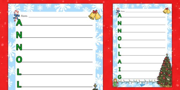 Christmas Acrostic Poem Template Gaeilge - gaeilge, christmas, acrostic poem, template