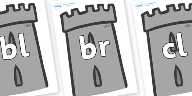 Initial Letter Blends on Turrets - Initial Letters, initial letter, letter blend, letter blends, consonant, consonants, digraph, trigraph, literacy, alphabet, letters, foundation stage literacy