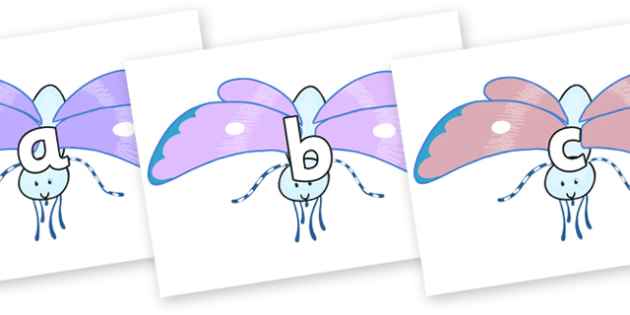 Phase 2 Phonemes on Blue Butterfly to Support Teaching on The Crunching Munching Caterpillar - Phonemes, phoneme, Phase 2, Phase two, Foundation, Literacy, Letters and Sounds, DfES, display