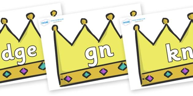 Silent Letters on Crowns (Plain) - Silent Letters, silent letter, letter blend, consonant, consonants, digraph, trigraph, A-Z letters, literacy, alphabet, letters, alternative sounds