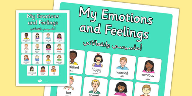 My Emotions and Feelings Vocabulary Poster Arabic Translation - arabic