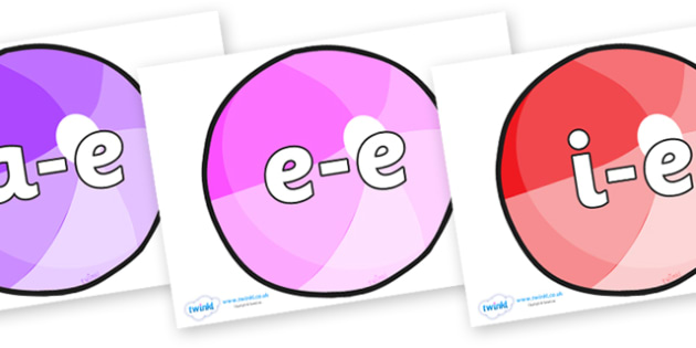 Modifying E Letters on Beach Balls - Modifying E, letters, modify, Phase 5, Phase five, alternative spellings for phonemes, DfES letters and Sounds