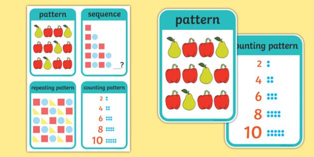 CfE Early Level Numeracy and Mathematics Patterns and Relationships Keyword Flashcards-Scottish