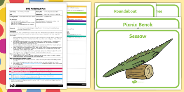 EYFS Disguise a Crocodile Adult Input Plan and Resource Pack to Support Teaching on The Enormous Crocodile