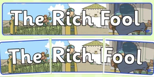 The Rich Fool Display Banner - parables, rich fool, fool, rich