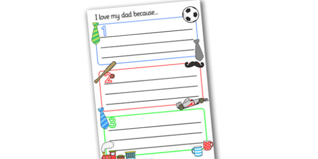 I Love My Dad Sheets - Father's day, father, dad, writing frames