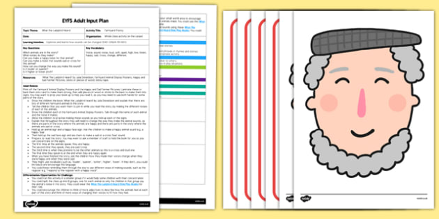 EYFS Farmyard Frenzy Adult Input Plan and Resource Pack to Support Teaching on What the Ladybird Heard