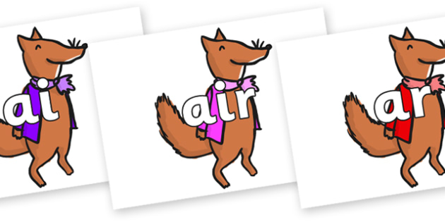 Phase 3 Phonemes on Small Fox 1 to Support Teaching on Fantastic Mr Fox - Phonemes, phoneme, Phase 3, Phase three, Foundation, Literacy, Letters and Sounds, DfES, display