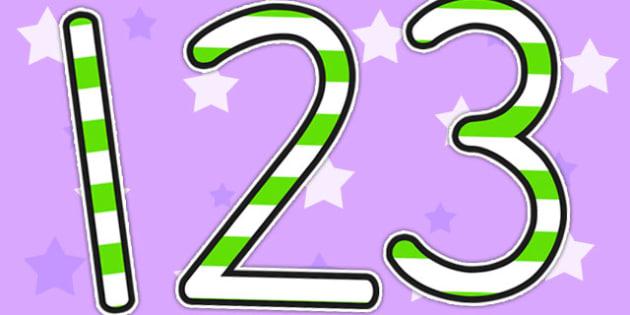 Stripey Green Display Numbers - numbers, display numbers, number