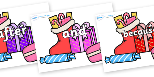 Connectives on Christmas Gifts - Connectives, VCOP, connective resources, connectives display words, connective displays