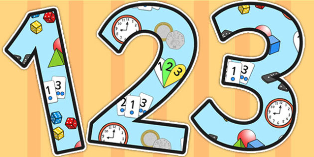 Number Area Themed A4 Display Numbers - number, area, display