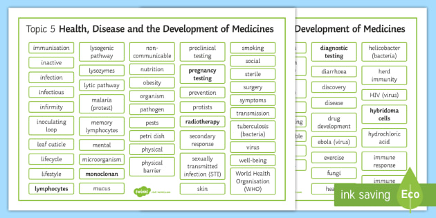 Edexcel Biology Health, Disease and the Development of Medicines Differentiated Word Mat - Word Mat, edexcel, gcse, disease, health, medicine, drug, drugs testing, screening, clincal trial, d