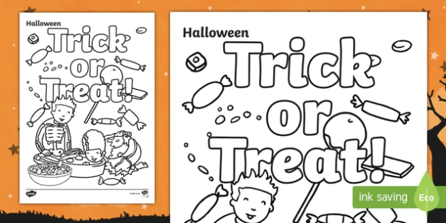 Halloween Trick or Treat Sweets Colouring Page