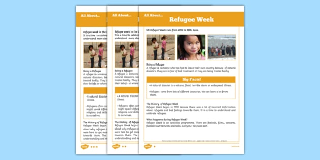 KS1 Refugee Week Differentiated Fact File