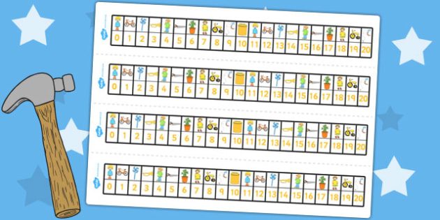 Number Track 0-20 to Support Teaching on Titch - count, counting, counting aid, numeracy