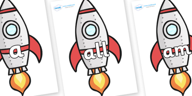 Foundation Stage 2 Keywords on Rockets (Plain) - FS2, CLL, keywords, Communication language and literacy,  Display, Key words, high frequency words, foundation stage literacy, DfES Letters and Sounds, Letters and Sounds, spelling