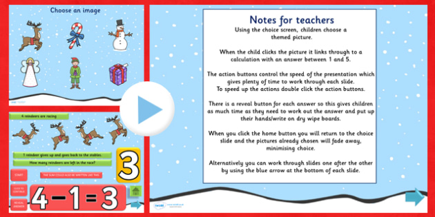 Christmas Themed Subtraction PowerPoint - christmas, subtraction, subtract, take away, takeaway, take-away, minus, powerpoint, maths powerpoint, numeracy
