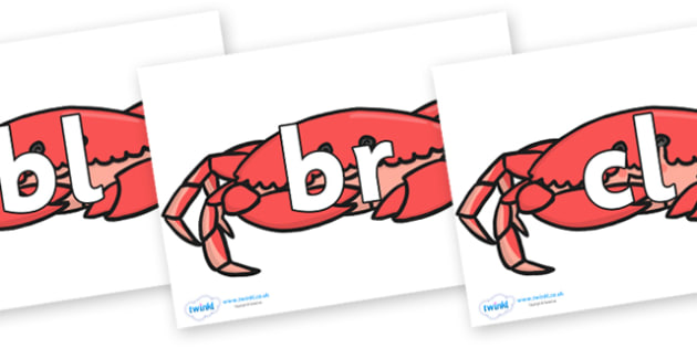 Initial Letter Blends on Crabs - Initial Letters, initial letter, letter blend, letter blends, consonant, consonants, digraph, trigraph, literacy, alphabet, letters, foundation stage literacy