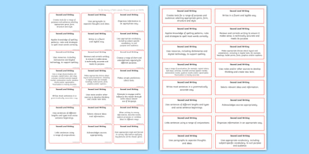 CfE Second Level Writing Benchmark Assessment Stickers