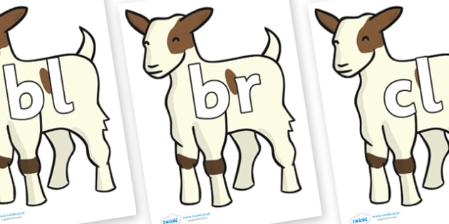 Initial Letter Blends on Baby Goats - Initial Letters, initial letter, letter blend, letter blends, consonant, consonants, digraph, trigraph, literacy, alphabet, letters, foundation stage literacy