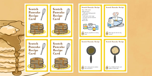 Scotland Scotch Pancake Recipe Card - pancake, recipe, scotland