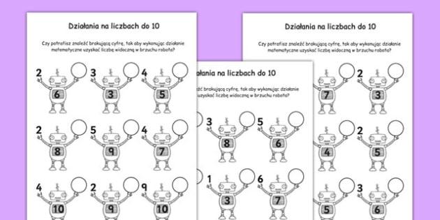 Zadania matematyczne z robotami liczby 1-10 po polsku - liczenie