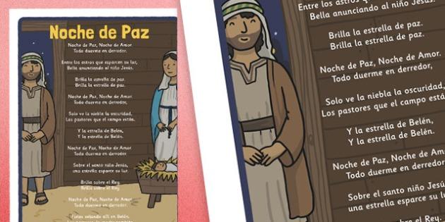 Noche de Paz Christmas Carol Lyrics Poster Spanish - spanish, silent night, christmas, carol, lyrics, poster, display