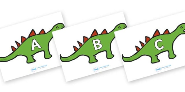A-Z Alphabet on Dinosaurs - A-Z, A4, display, Alphabet frieze, Display letters, Letter posters, A-Z letters, Alphabet flashcards
