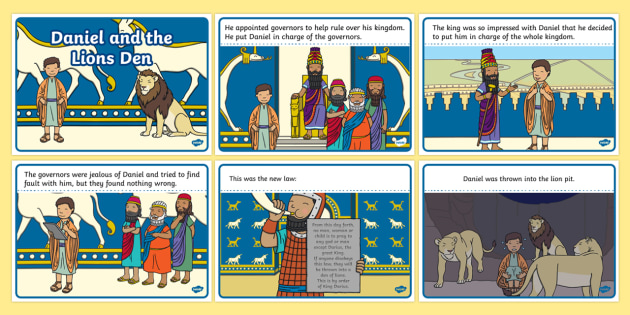 Daniel And The Lions Den Story Sequencing (A4) - Daniel and the Lions, Daniel, Lions, lion pit, sequencing, story sequencing, story resources, A4, cards, Babylon, King Darius, governors, God, pray, den, bible story, bible