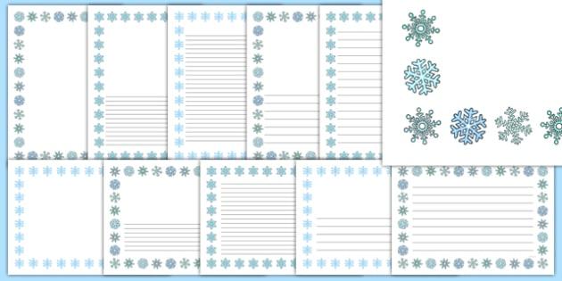 Snowflake Portrait Page Borders- Portrait Page Borders - Page border, border, writing template, writing aid, writing frame, a4 border, template, templates, landscape