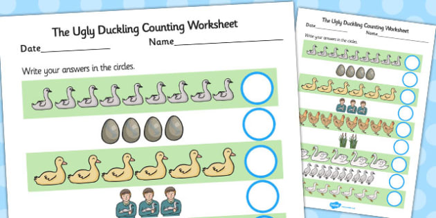 Ugly Duckling Counting Sheet - counting, sheet, ugly duckling