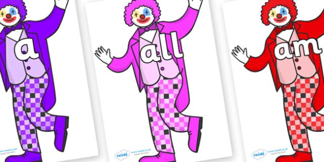 Foundation Stage 2 Keywords on Clowns - FS2, CLL, keywords, Communication language and literacy,  Display, Key words, high frequency words, foundation stage literacy, DfES Letters and Sounds, Letters and Sounds, spelling