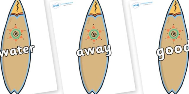 Next 200 Common Words on Surf Boards - Next 200 Common Words on  - DfES Letters and Sounds, Letters and Sounds, Letters and sounds words, Common words, 200 common words