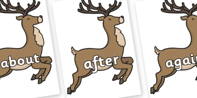 KS1 Keywords on Reindeer - KS1, CLL, Communication language and literacy, Display, Key words, high frequency words, foundation stage literacy, DfES Letters and Sounds, Letters and Sounds, spelling