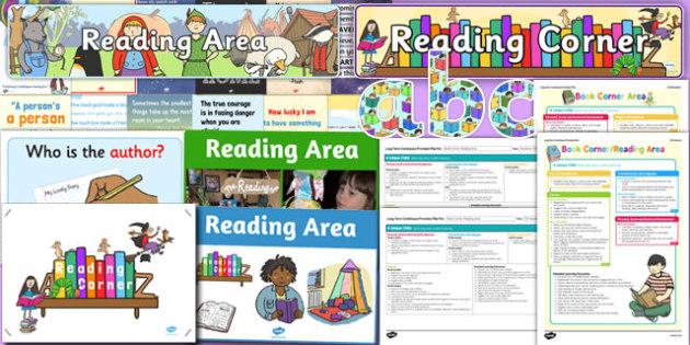 Reading Corner Area Display Pack EYFS - reading corner, area, display