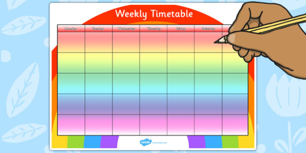 Rainbow Themed Weekly Timetable - rainbow, weekly, timetable