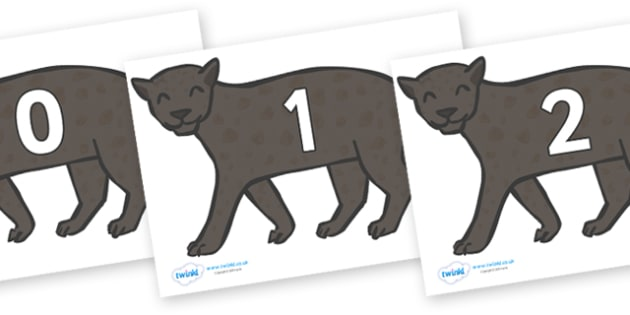 Numbers 0-50 on Panthers - 0-50, foundation stage numeracy, Number recognition, Number flashcards, counting, number frieze, Display numbers, number posters