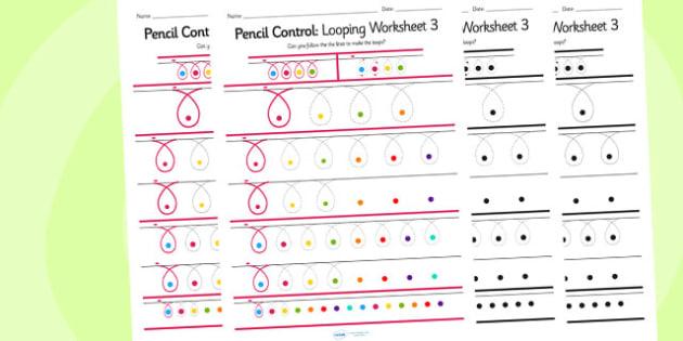 Pencil Control Looping Worksheet 3 - pencil control, looping