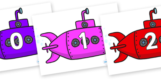 Numbers 0-31 on Submarines - 0-31, foundation stage numeracy, Number recognition, Number flashcards, counting, number frieze, Display numbers, number posters