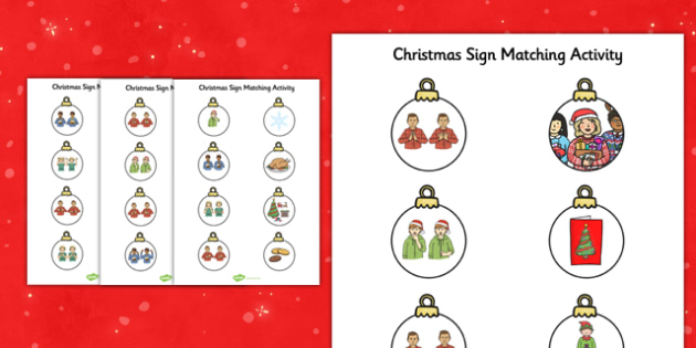 Christmas British Sign Language Match Activity Sheets Left Handed