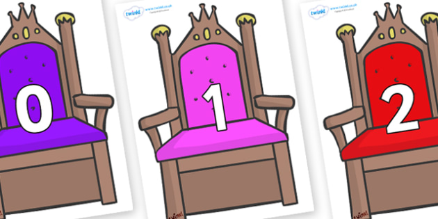 Numbers 0-31 on Thrones - 0-31, foundation stage numeracy, Number recognition, Number flashcards, counting, number frieze, Display numbers, number posters