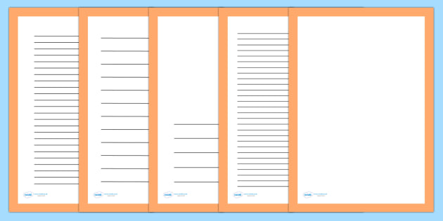 Plain Orange Page Borders - writing templates, writing frames