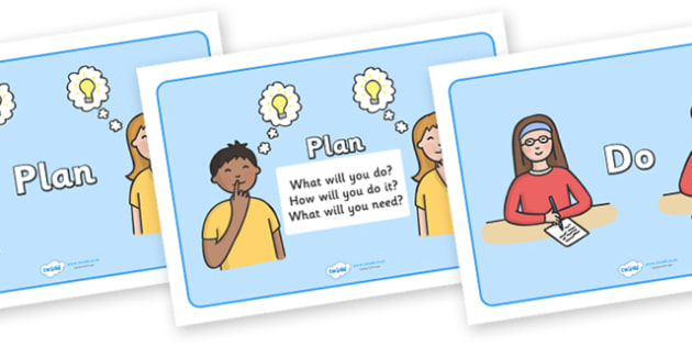 Plan Do Review Display Posters - plan do review, display, poster, sign, plan, do, review, what will you do, how will you do it, think, planning
