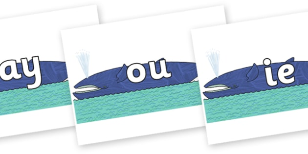 Phase 5 Phonemes on Whale to Support Teaching on Sharing a Shell - Phonemes, phoneme, Phase 5, Phase five, Foundation, Literacy, Letters and Sounds, DfES, display