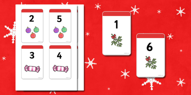 Christmas Number Bonds to 7 Matching Cards - Number Bonds, Matching Cards, Clothing Cards, Number Bonds to 7, Christmas, xmas, tree, advent, nativity, santa, father christmas