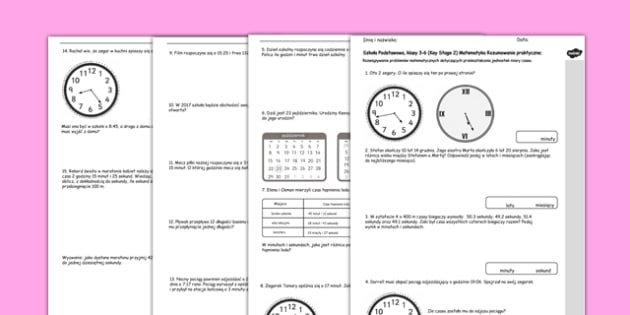 Jednostki czasu Test Matematyka Szkoła Podstawowa po polsku - polish, Key Stage 2, KS2, Reasoning, Test, Practice, Measurement, Time