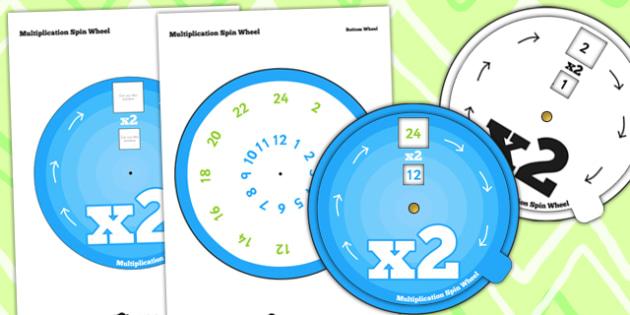 Multiplication Spin Wheel 2 - multiplication, wheel, 2 times