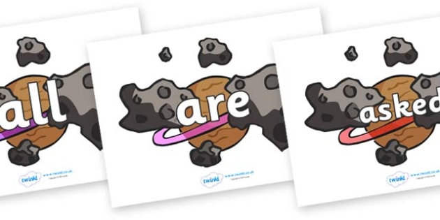 Tricky Words on Asteroids - Tricky words, DfES Letters and Sounds, Letters and sounds, display, words