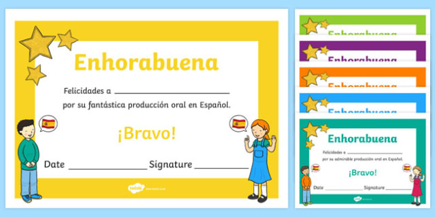 Spanish End of Year Oral Work Award Certificate